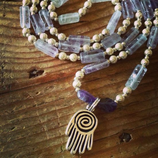 New Amethyst and Silver Necklace for sale!!! Amethyst Silver  Necklace Hamsa