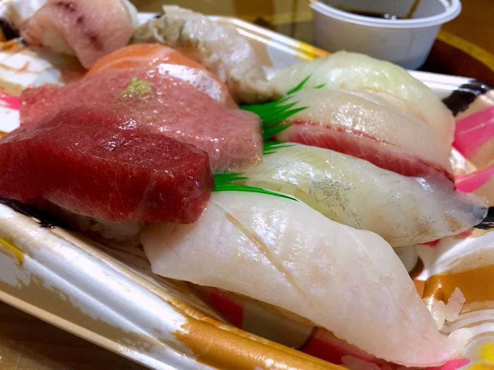Close-up of raw fish served in plate