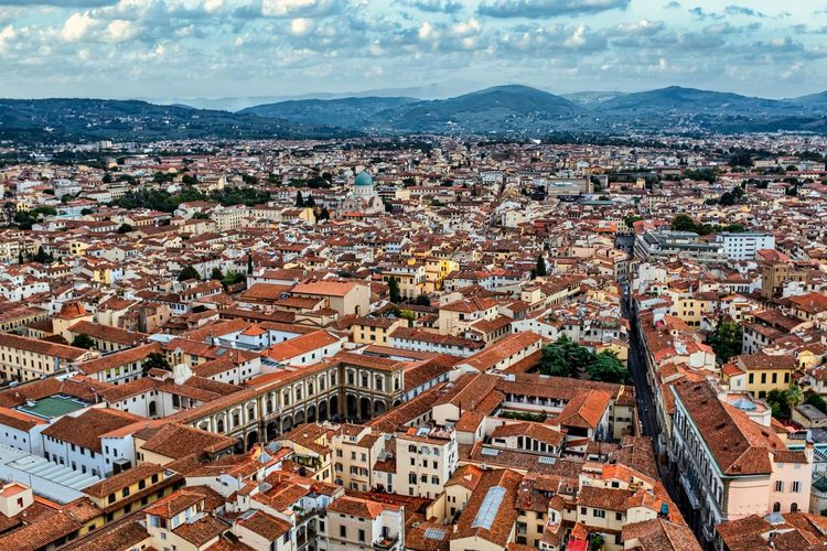Rooftops of florence, italy with scenic summer sky. long shot.