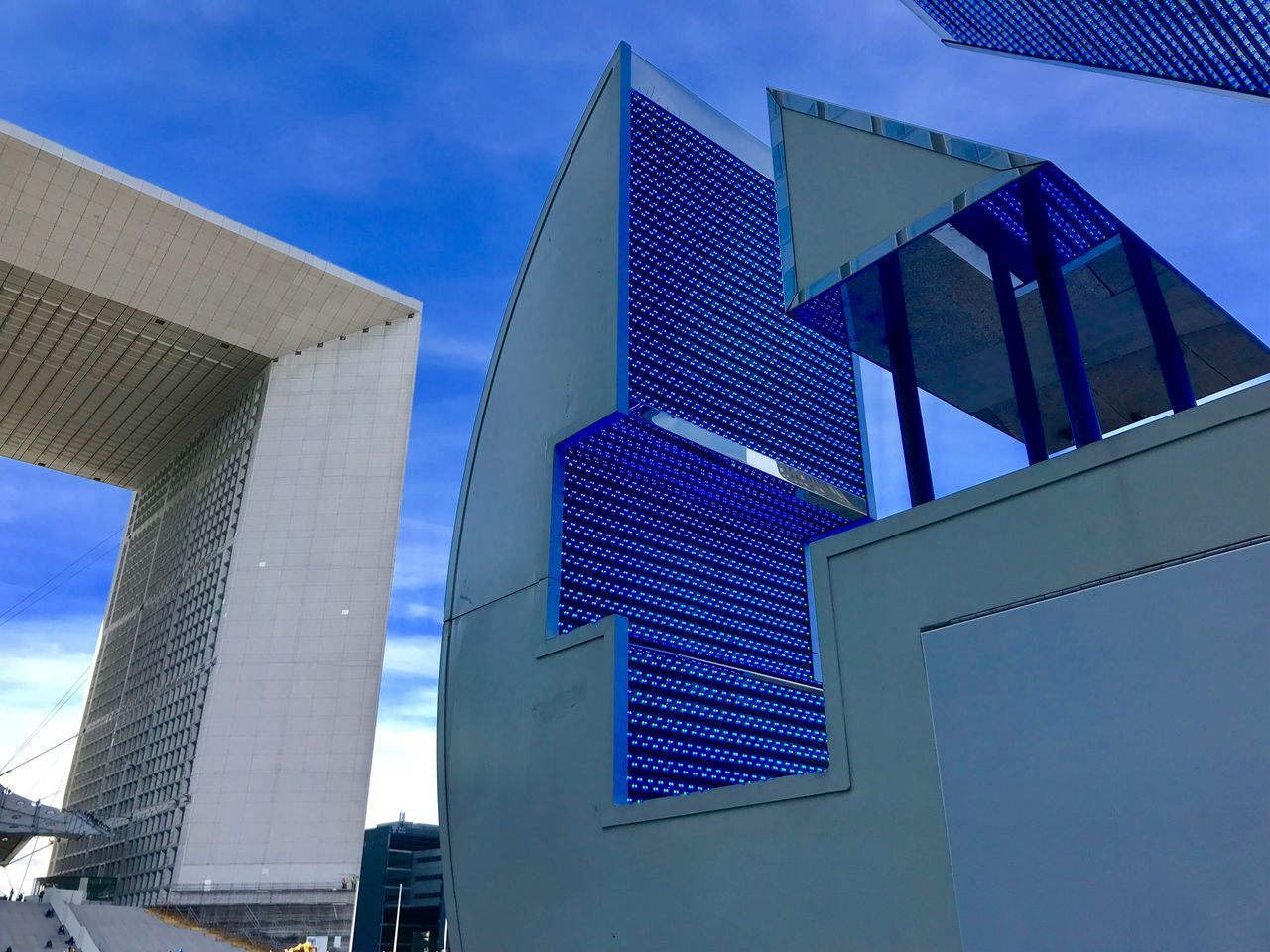 architecture, built structure, low angle view, modern, building exterior, outdoors, sky, day, blue, no people, city
