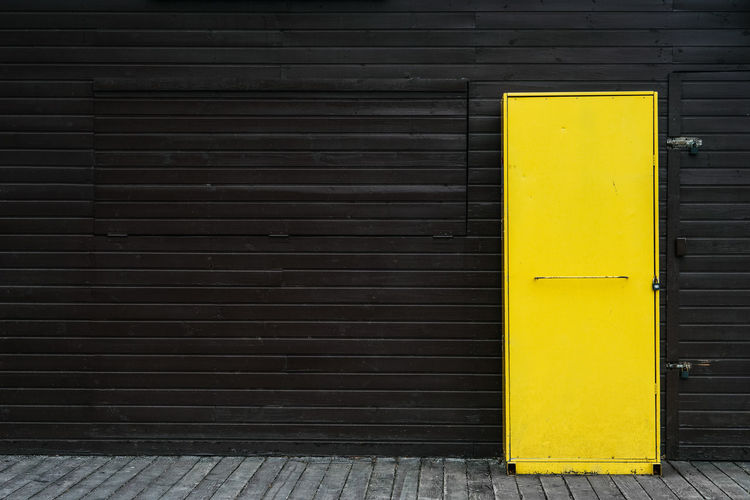 Close-up of yellow locker