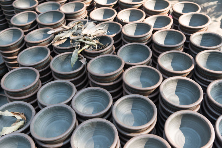 Full frame shot of stacked empty bowls for sale at market