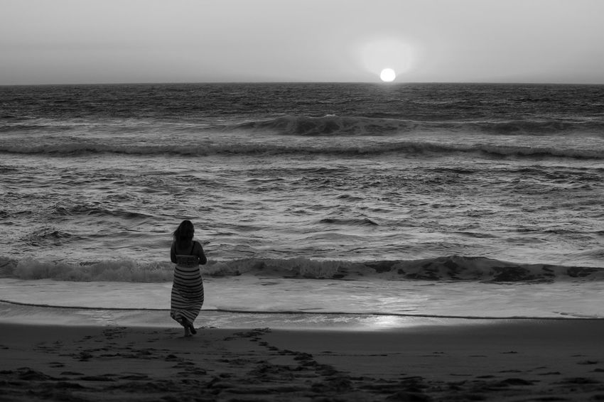 Black & White Black And White Blackandwhite Blackandwhite Photography Bnw End Of The Day Enjoying The Sun Eye4photography  EyeEm EyeEm Best Shots EyeEm Bnw EyeEm Nature Lover EyeEmBestPics Golden Hour Monochrome Seaside Sunset Sunset_collection Sunsets Waves, Ocean, Nature Woman
