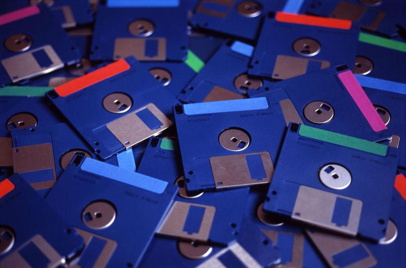 Full frame shot of blue floppy disks