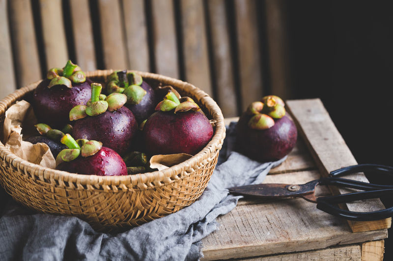 Mangosteen fruits Agriculture ASIA Backgrounds Bamboo Basket Burlap Fabric Farm Food Food And Drink Fresh Healthy Eating Mangosteen Mangosteen Fruit Nature Nutrition Old Wood Raw Sweet Tasty Tropical Vietnam Vitamin