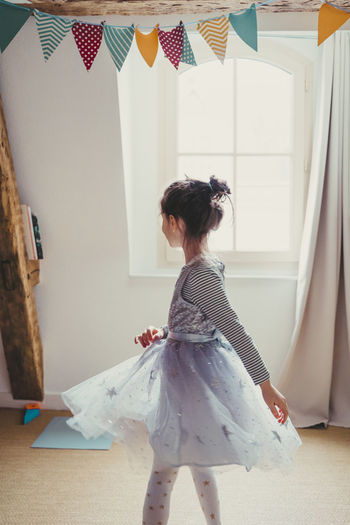 Girl playing at home