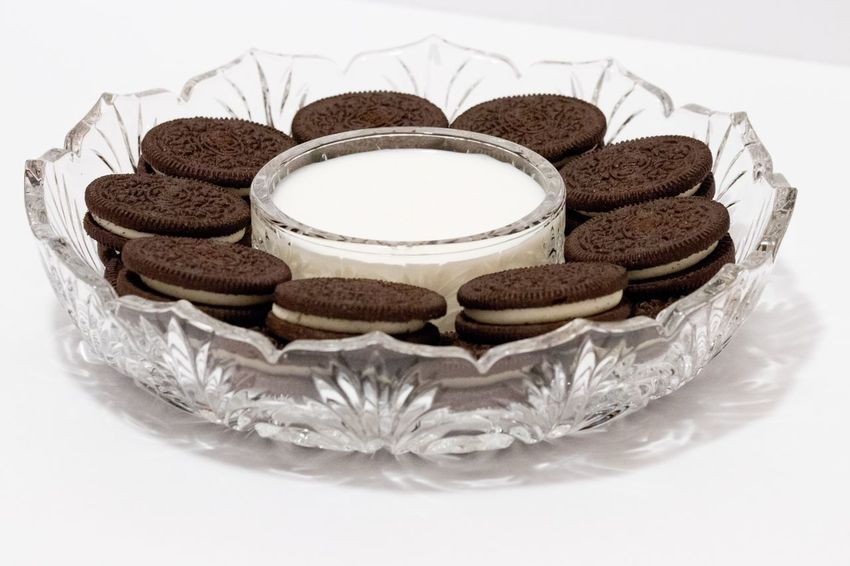 Plate of cookies Dipping Milk Junk Food Baking Calories Sugar Sandwich Cookies Cookies EyeEm Selects Food Sweet Food Food And Drink Dessert Cake Still Life No People White Background Unhealthy Eating Baked Plate Freshness Indulgence Temptation Ready-to-eat Bakery Close-up