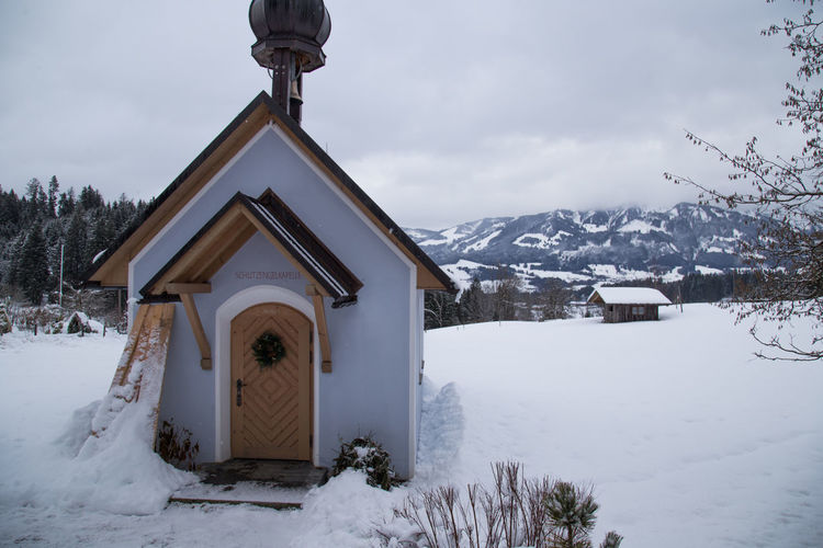 Allgäu Kapelle Snow ❄ Winter Architecture Building Exterior Built Structure Cloud - Sky Cold Temperature Day Little Church Nature No People Outdoors Place Of Worship Religion Sky Snow Spirituality Weather Winter