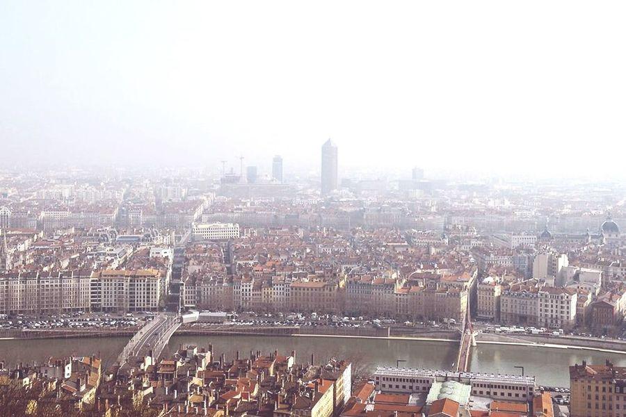Lyon France Lyon Fog Foggy City Building Fleuve Poster Morning Only Lyon