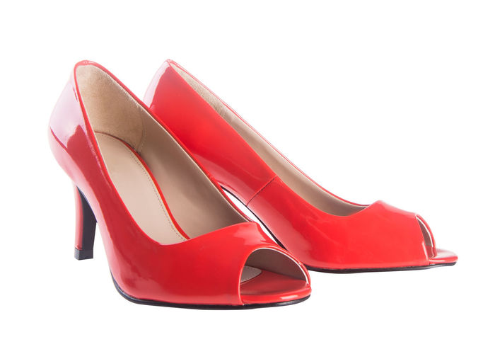 Close-up Day Dress Shoe Fashion Glamour High Heels Luxury No People Outdoors Pair Red Shoe Studio Shot Things That Go Together White Background