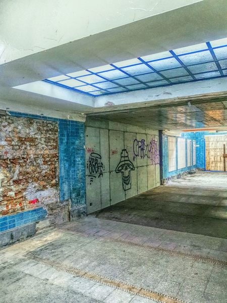 Urban Cityscape Bahnhof Railwaystation Trainstation Abandoned Abandoned Places Lostplaces Lost Paint Blue Paintphotography  Urbex Architecture Graffiti Built Structure Indoors  No People Day