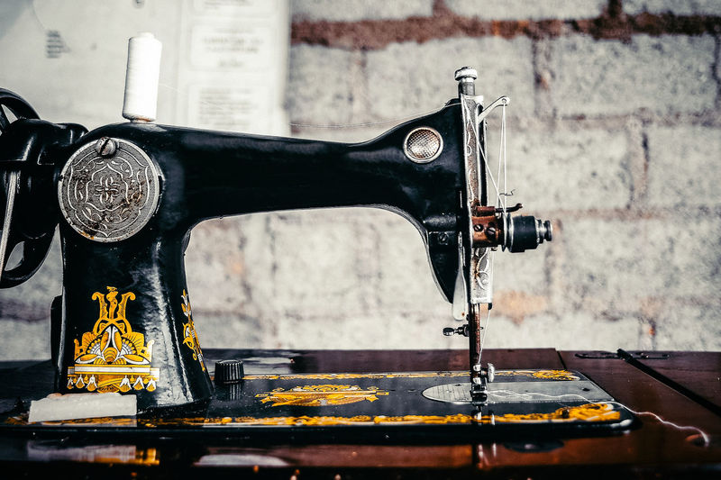 Travel Still Life Analogue Sound Sewing Machine Sewing Close-up Indoors  Machinery Focus On Foreground Equipment Metal Manufacturing Equipment Retro Styled Antique Technology Accuracy Old Communication Machine Part Still Life Textile