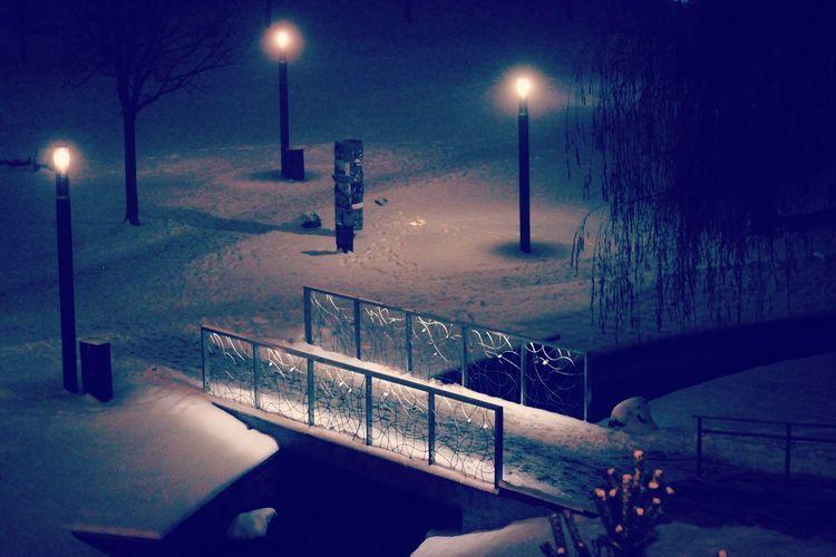 The bridge Bridge Season  Snow Cold Temperature Winter City Street Light Sky