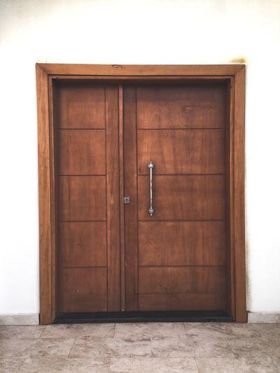 Closed wooden door of building