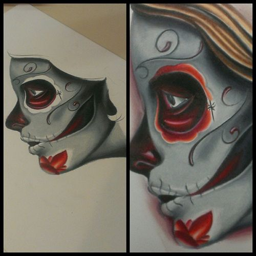Clearwater Allaprimaink Arcaneink Austintx  Austin art prismacolor pencil dayofthedead tattoos Tampa tampabay Texas tattooing fkironsproteam fkirons freshink Florida