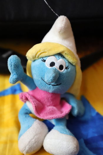 little smurfett Smurfette  Smurf Toy Stuffed Toy Teddy Bear Indoors  No People Childhood Smiling First Eyeem Photo