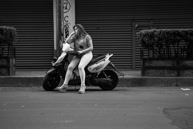 Woman riding motorcycle