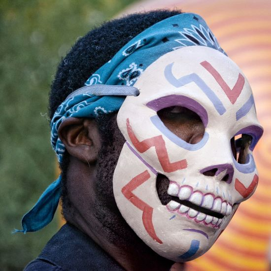 Day of the Dead, a mexican tradition One Person Portrait Headshot Close-up Real People This Is Latin America Men Human Body Part Lifestyles Body Part Face Paint Day Clothing Mask - Disguise Disguise Focus On Foreground Blue Mask Front View Human Face