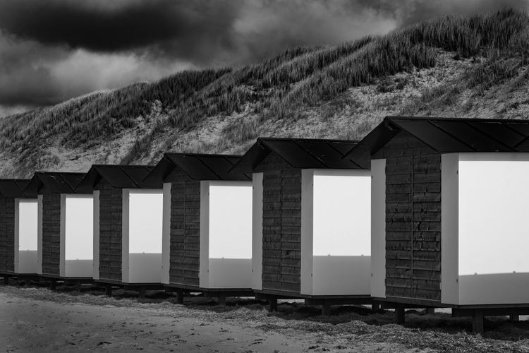 Cabins on the beach Beach Photography Black & White Texel  Texel, The Netherlands Beach Beach Black And White Blackandwhite Cabin Outdoors Sand Black And White Friday EyeEmNewHere