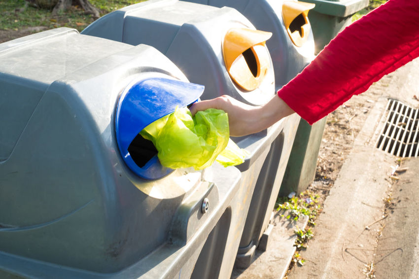 Container Disposal Junk Rubbish Trash Bag Bin Clean Cleanness Closeup Collection Dirt Ecology Environment Garbage Hand Object Plastic Pollution Recycle Recycling Segregation  Throw Throwing  Waste