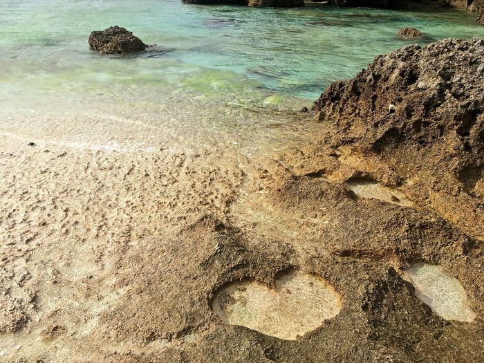 Heart Shape Nature Sand Beach Rock - Object Day Outdoors High Angle View Water Sea Beauty In Nature