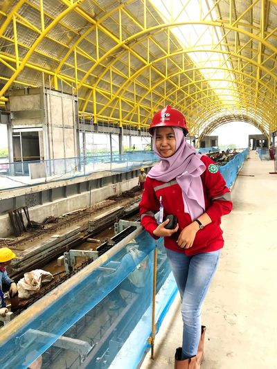Challenge ! This Is Strength Safety Hse EyeEmNewHere Moslem Moslem Indonesia Beautiful Hse Safety First! Safety Officer Project INDONESIA Melayu Jawa Palembang Warm Clothing Portrait Headwear Full Length Childhood Looking At Camera Hardhat  Standing Child Smiling