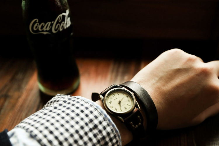 Indoors  Wristwatch One Person Close-up Perfume Sprayer Drink Time Watch Human Body Part Adults Only Day People Human Hand Adult Clock Face First Eyeem Photo Coke Cocacola Japan Canon6d