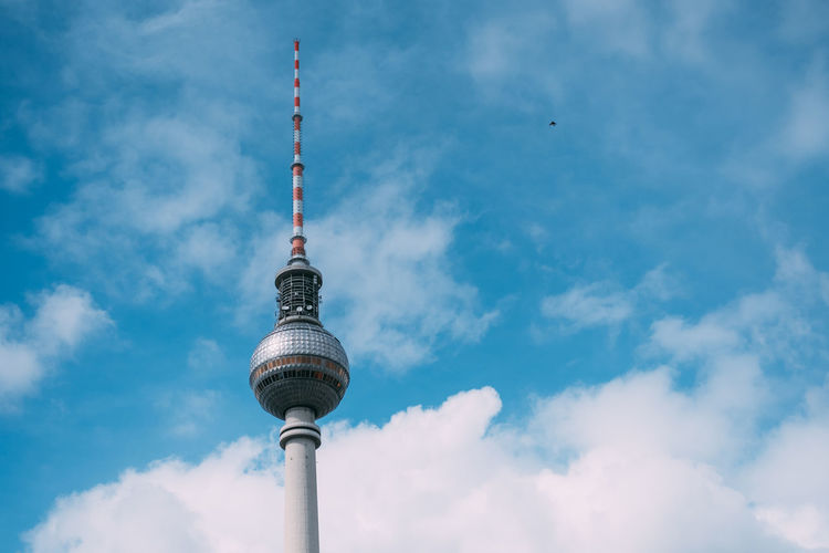 Low Angle View Of Television Tower - Berlin Against Cloudy Sky