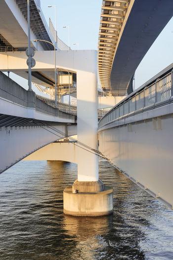 Pillar of rainbow bridge bridge in odaiba bay, tokyo, japan.
