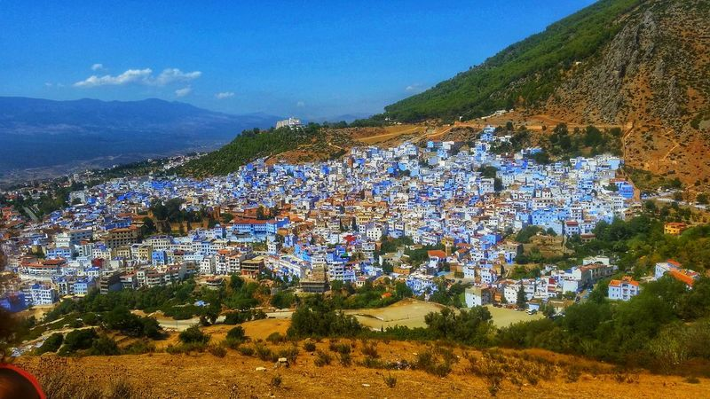 Chefchaouen Thebluepearlchefchaouen Chefchaouen Rif Mountains Mountain Mountain View City City View  Blue Blue Sky And Clouds Bluecity No People Day Arts Culture And Entertainment Art Is Everywhere Relaxing Moments City Relax Day Outdoors Nature No People Mountain Landscape Beauty In Nature Tree Mountain Range Sky Freshness