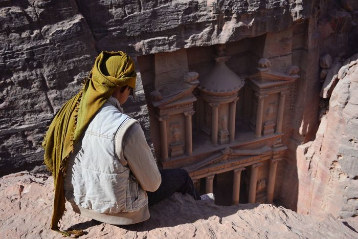 Breathtaking Petra Travel Photography Petra Jordan Height Climb Rock Architecture Ancient Civilization Tourism Local One Person Built Structure Old Ruin Outdoors Ancient Civilization Nabatean City