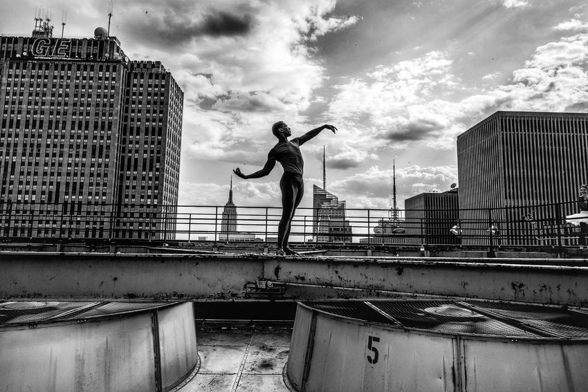 B&w Street Photography King of the world New York City Ballet Shadow BW Collection Light Dancer Sky Architecture