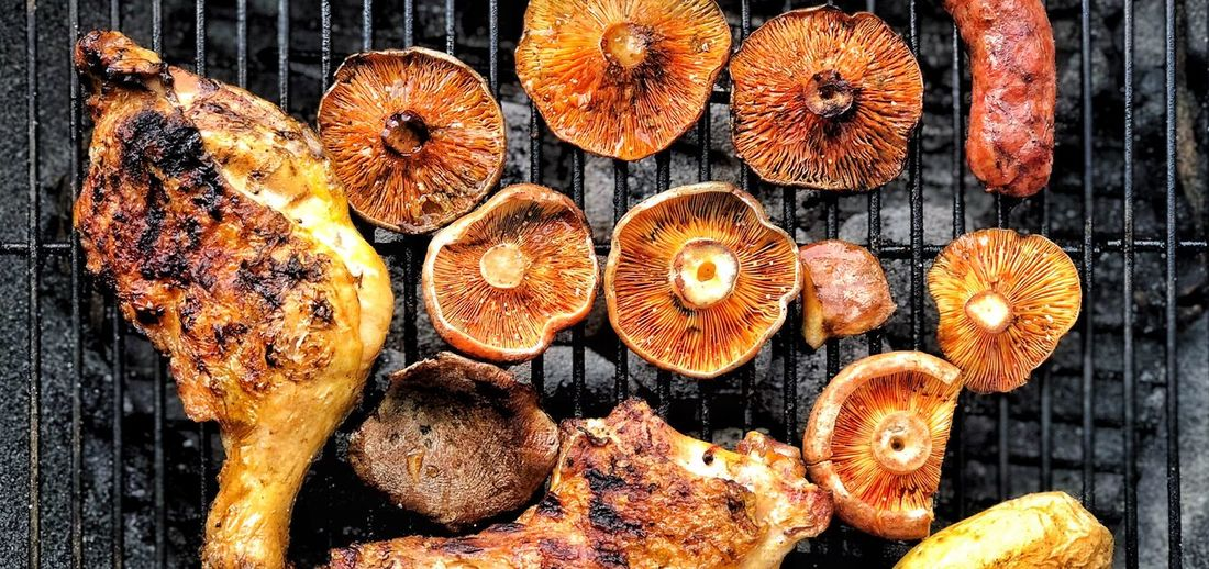 Bbq Chiken Barbecue BBQ Mushroom Food No People Wood - Material Large Group Of Objects Timber Day Wood Log Firewood Close-up