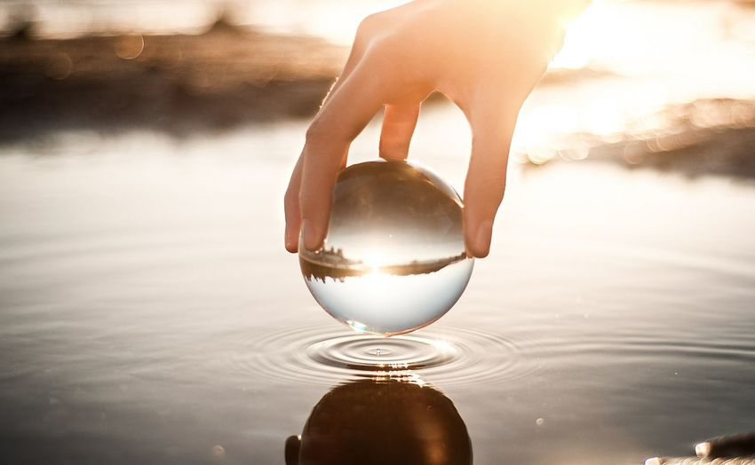 Close-up of hand holding crystal ball in lake
