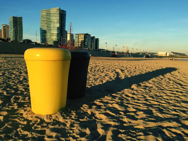 City Architecture Built Structure Building Exterior Skyscraper No People Sky Outdoors Nature Day Trashcan Colors Beach Yellow