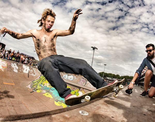 Lukas Olsen frontside feeble @roskildefestival Skateboarding Skate Roskilde Festival Festival