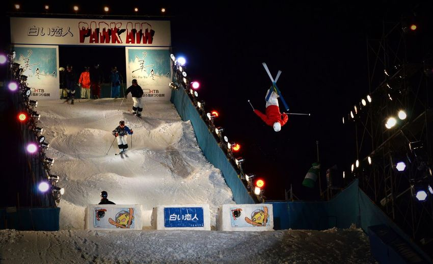 Jump Snow Sports Ski Skiing Mogul Mogul Skiing Snow Festival Sapporo Snow Festival Snow Winter Winter Night Winter Sports Cold Temperature Cold Weather Cold Winter ❄⛄ Outdoors Captured Moment Performance Back Flip Backflip