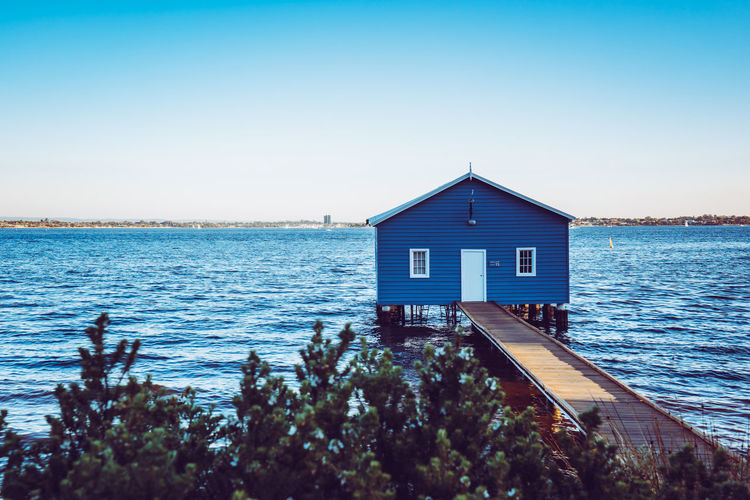 Architecture Beauty In Nature Blue Building Building Exterior Built Structure Clear Sky Copy Space Day House Nature No People Outdoors Scenics - Nature Sea Sky Tranquil Scene Tranquility Water