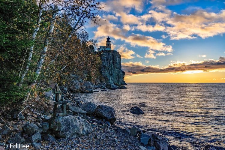 Split Rock Lighthouse Nature_collection Sunrise_sunsets_aroundworld Sunrise Lighthouse_lovers Lighthouse Nature Landscape_Collection Nature Photography Beauty In Nature Fall Colors Streamzoofamily Malephotographerofthemonth Sky Water Cloud - Sky Sunset Beach Beauty In Nature Sea