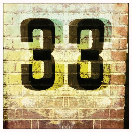 Numbers Numerals Digits Three Thirty-three Brick Wall Faded Flaking Paint Red Brick Street House Number