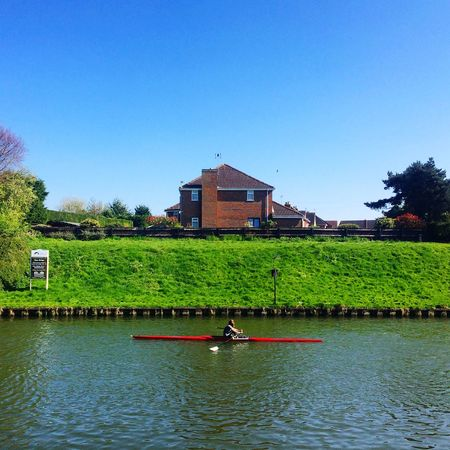 Gloucester Quedgeley River Severn Nature Rowing Sport Landscape Blue Sky Outdoor United Kingdom