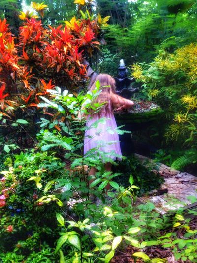 Little girl at the magic fountain. Real People One Person Outdoors Nature People Forest Fountain Magical Childhood Girl Girlhood Foliage Fairy Trees Magic EyeEmNewHere Place Of Heart
