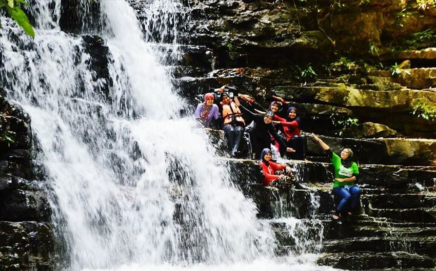 Happiness Danger Water Teamwork Protective Workwear RISK Adventure Activity People Motion Journey Headwear Outdoors Togetherness Sports Team Clambering Waterfall Day Adult Adults Only