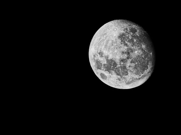More moon madness. This is a view of the Jan 2018 supermoon taken the night before full moon from my garden at 1:17 a.m. Black And White SuperMoon 2018 Moon Surface Moon Sky No People Night Nature Low Angle View Copy Space Clear Sky Astronomy