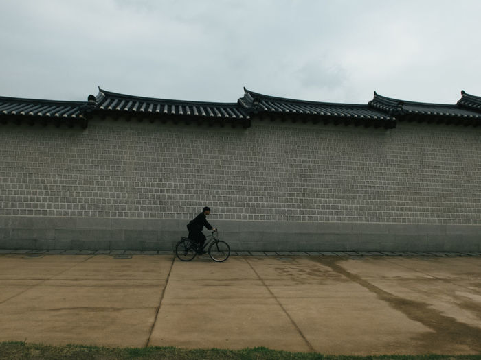 Korea Korean Traditional Architecture South Korea Wall Architecture Bicycle Bicycling Bike Building Exterior Built Structure Day Outdoors