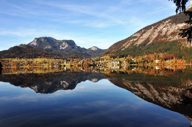 Reflection Salzkammergut Austria Altaussee Mountain Reflection Water Architecture Built Structure Building Exterior Lake Mountain Range Sky Waterfront Outdoors Scenics Tranquil Scene Tranquility Nature Beauty In Nature Standing Water