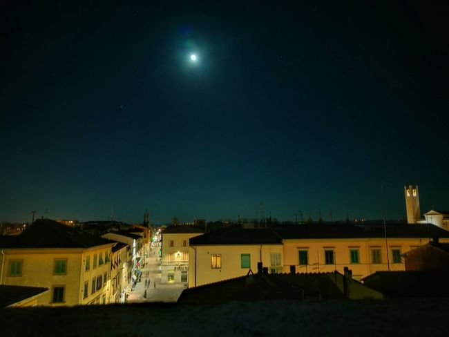 Super Moon Supermoon Night Illuminated Architecture Sky Moon No People Outdoors Star - Space City Astronomy Midnight City Postcards From Italy Residential District Blue Pontedera Blue Color