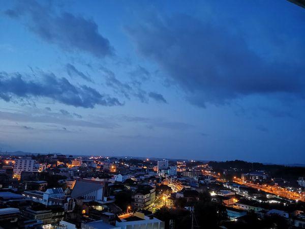 Trang , Thailand Illuminated Sunset Dusk Aerial View