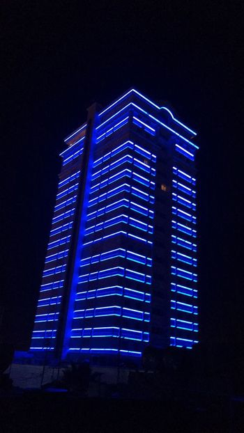 Night Low Angle View Architecture Built Structure Illuminated Blue Building Exterior