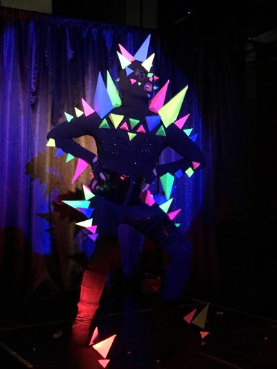 Indoors  Celebration Illuminated Curtain Multi Colored No People Drag Queen Club Kid Costume Dinosaur Gay Pride Gay Pride Cabaret Queer Club Bar Party Lip Sync Lgbt Gay Bar Performance Night Close-up Neon Life